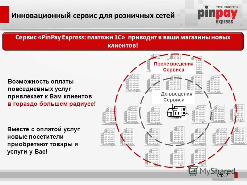 Инновационный сервис для розничных сетей Стр. 7 До введения Сервиса После введения Сервиса Сервис «PinPay Express: платежи 1C» приводит в ваши магазины новых клиентов! Возможность оплаты повседневных услуг привлекает к Вам клиентов в гораздо большем