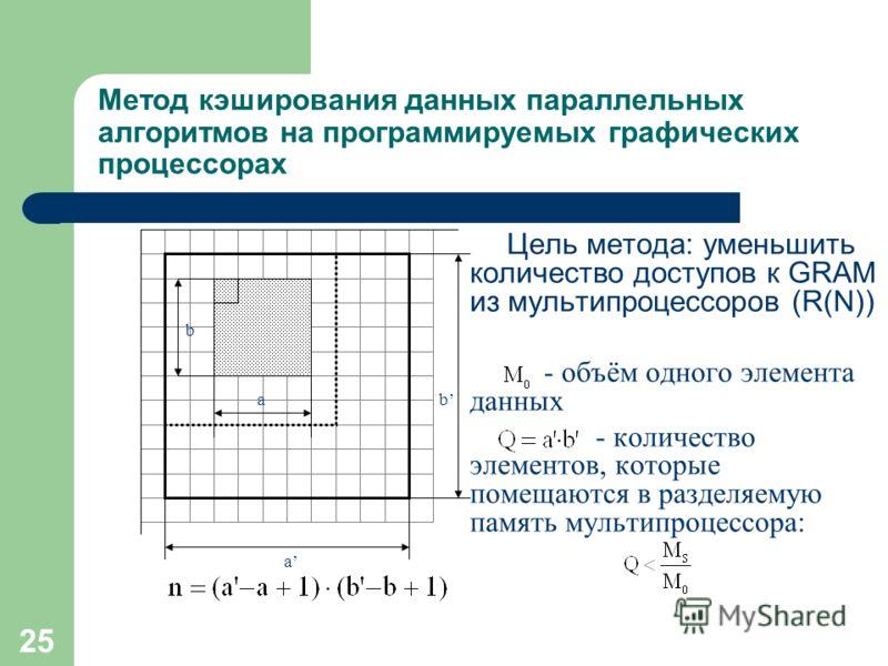 25 Метод кэширования данных параллельных алгоритмов на программируемых графических процессорах Цель метода: уменьшить количество доступов к GRAM из мультипроцессоров (R(N)) - объём одного элемента данных - количество элементов, которые помещаются в р