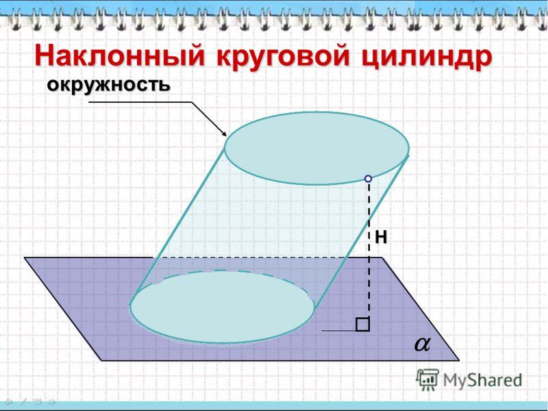 Наклонный круговой цилиндр Н окружность