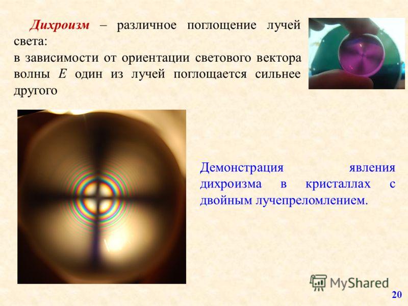 Дихроизм – различное поглощение лучей света: в зависимости от ориентации светового вектора волны Е один из лучей поглощается сильнее другого 20 Демонстрация явления дихроизма в кристаллах с двойным лучепреломлением.
