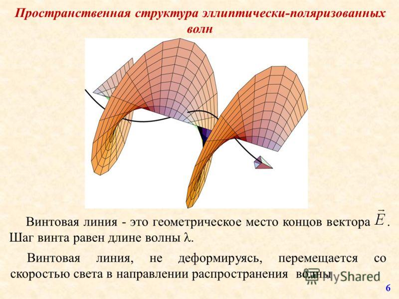 Пространственная структура эллиптически-поляризованных волн Винтовая линия - это геометрическое место концов вектора. Шаг винта равен длине волны. Винтовая линия, не деформируясь, перемещается со скоростью света в направлении распространения волны 6