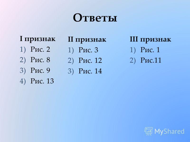 Ответы I признак 1)Рис. 2 2)Рис. 8 3)Рис. 9 4)Рис. 13 III признак 1)Рис. 1 2)Рис.11 II признак 1)Рис. 3 2)Рис. 12 3)Рис. 14