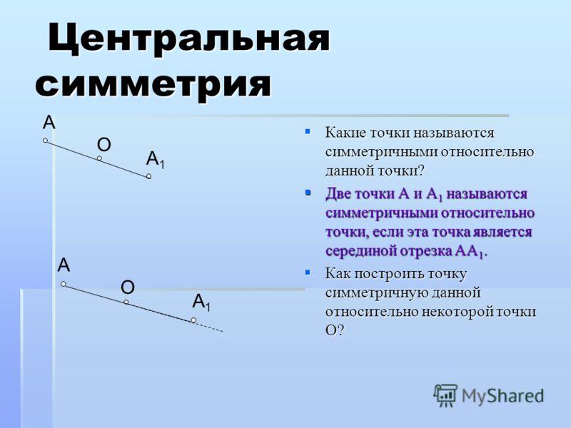 Центральная симметрия Центральная симметрия Какие точки называются симметричными относительно данной точки? Какие точки называются симметричными относительно данной точки? Две точки А и А 1 называются симметричными относительно точки, если эта точка