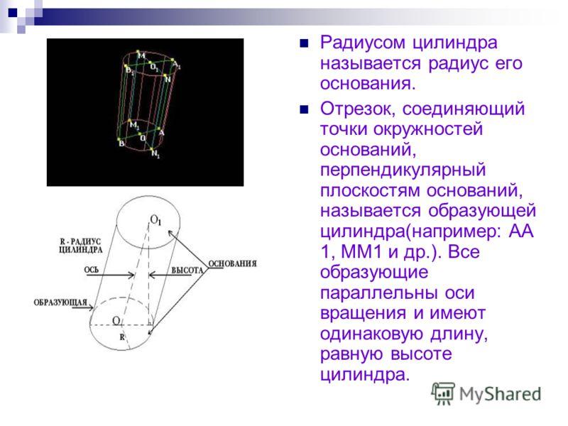Радиусом цилиндра называется радиус его основания. Отрезок, соединяющий точки окружностей оснований, перпендикулярный плоскостям оснований, называется образующей цилиндра(например: АА 1, ММ1 и др.). Все образующие параллельны оси вращения и имеют оди