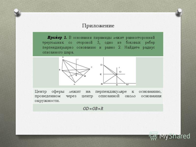 Приложение Центр сферы лежит на перпендикуляре к основанию, проведенном через центр описанной около основания окружности.
