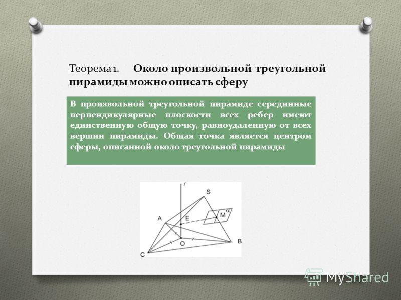 Теорема 1. Около произвольной треугольной пирамиды можно описать сферу В произвольной треугольной пирамиде серединные перпендикулярные плоскости всех ребер имеют единственную общую точку, равноудаленную от всех вершин пирамиды. Общая точка является ц
