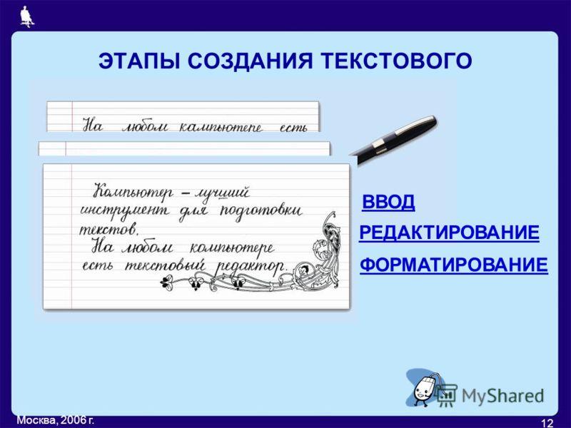 Москва, 2006 г. 12 ЭТАПЫ СОЗДАНИЯ ТЕКСТОВОГО ДОКУМЕНТА ВВОД РЕДАКТИРОВАНИЕ ФОРМАТИРОВАНИЕ
