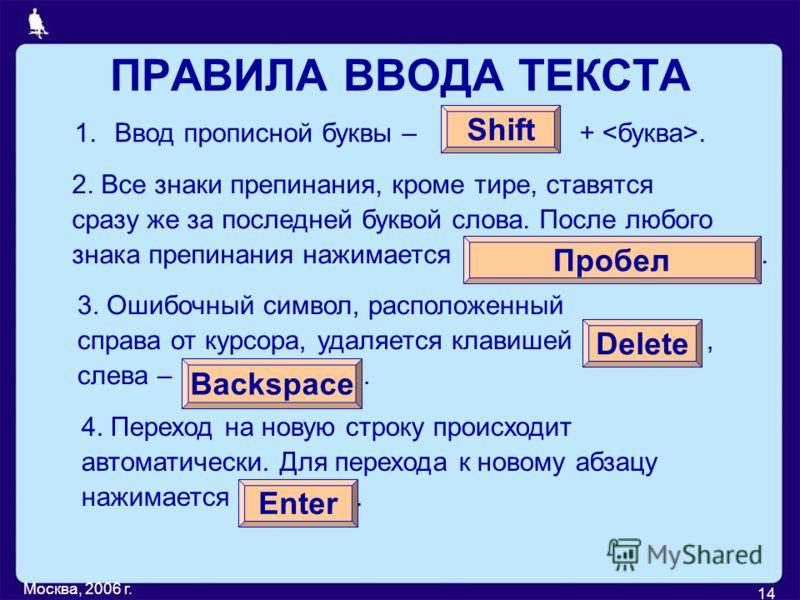 Москва, 2006 г. 14 ПРАВИЛА ВВОДА ТЕКСТА 1.Ввод прописной буквы – +. Shift 2. Все знаки препинания, кроме тире, ставятся сразу же за последней буквой слова. После любого знака препинания нажимается. Пробел 3. Ошибочный символ, расположенный справа от