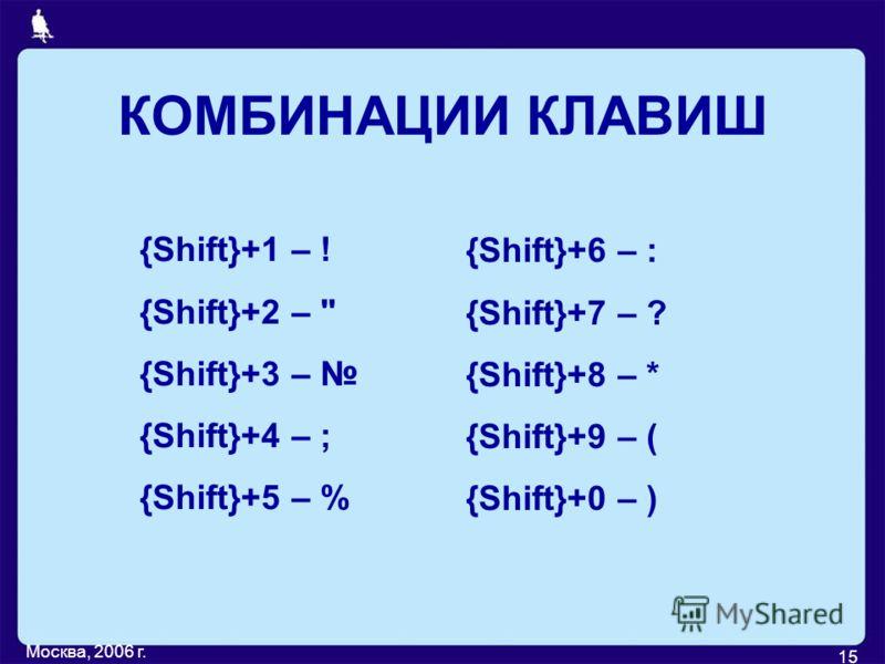 Москва, 2006 г. 15 КОМБИНАЦИИ КЛАВИШ {Shift}+1 – ! {Shift}+2 –  {Shift}+3 – {Shift}+4 – ; {Shift}+5 – % {Shift}+6 – : {Shift}+7 – ? {Shift}+8 – * {Shift}+9 – ( {Shift}+0 – )