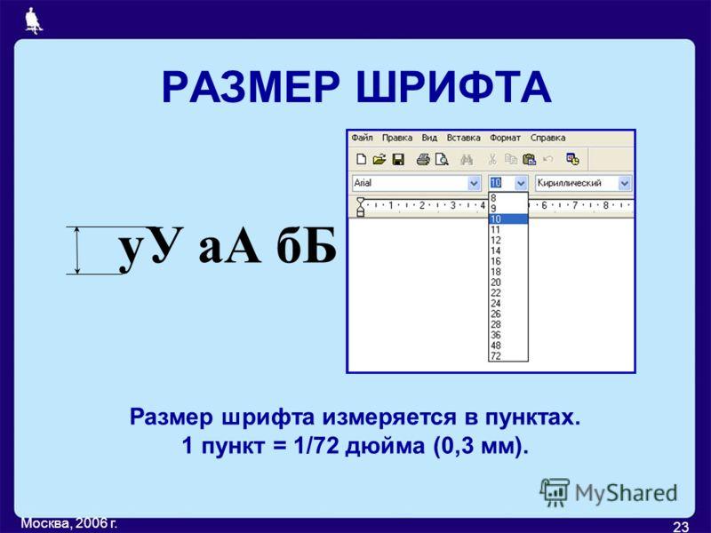 Москва, 2006 г. 23 РАЗМЕР ШРИФТА уУ аА бБ Размер шрифта измеряется в пунктах. 1 пункт = 1/72 дюйма (0,3 мм).