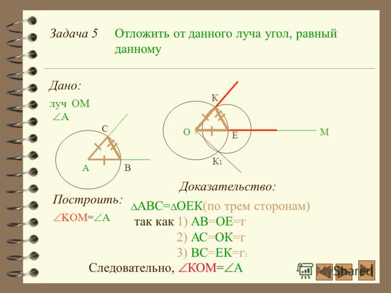 Задача 5Отложить от данного луча угол, равный данному Дано: луч ОМ ОМ А А Построить: С В Е К К1К1 KOM= А Доказательство: AВС= ОЕК(по трем сторонам) так как 1) АВ=ОЕ=г 2) АС=ОК=г 3) ВС=ЕК=г 1 Следовательно, КОМ= А