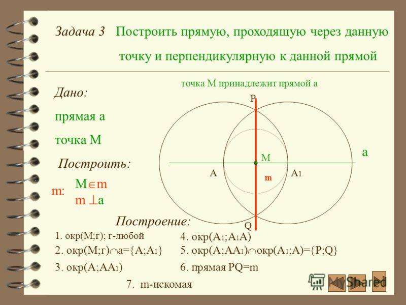 Задача 3Построить прямую, проходящую через данную точку и перпендикулярную к данной прямой Дано: прямая а а точка M Построить: m:m: M m m a точка М принадлежит прямой а М Построение: 1. окр(М;г); г-любой AA1A1 2. окр(М;г) а= А;А 1 3. окр(А;АА 1 ) 4.