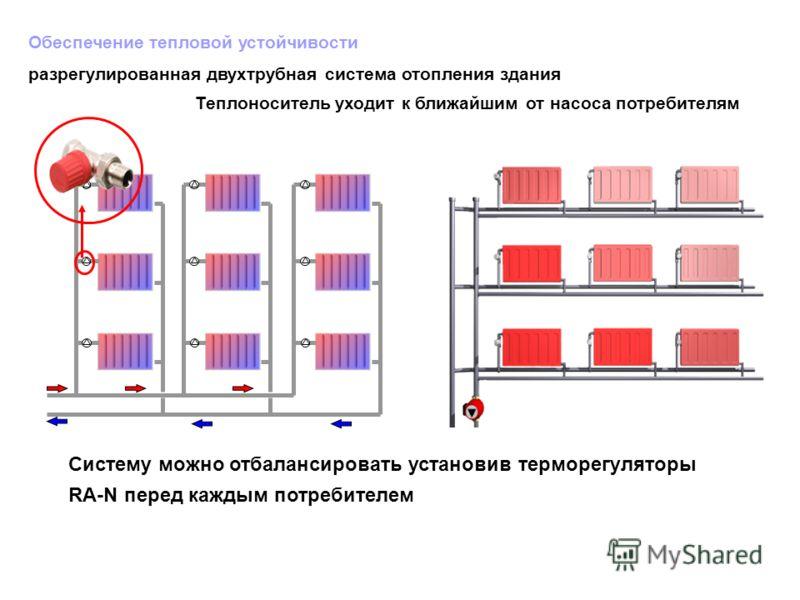 Обеспечение тепловой устойчивости разрегулированная двухтрубная система отопления здания Теплоноситель уходит к ближайшим от насоса потребителям Систему можно отбалансировать установив терморегуляторы RА-N перед каждым потребителем