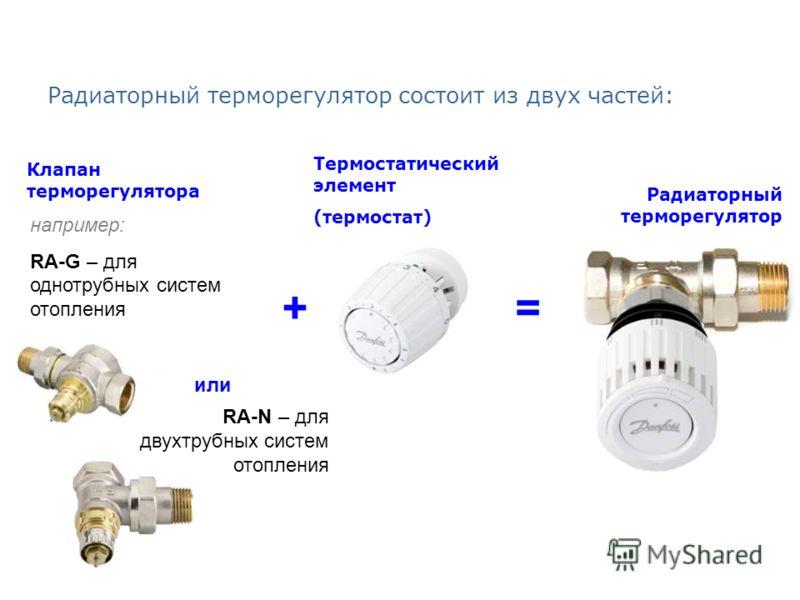 Радиаторный терморегулятор состоит из двух частей: Клапан терморегулятора Термостатический элемент (термостат) или например: RA-G – для однотрубных систем отопления RA-N – для двухтрубных систем отопления += Радиаторный терморегулятор