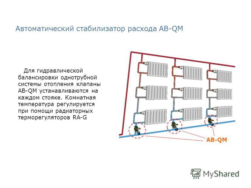 Автоматический стабилизатор расхода AB-QM Для гидравлической балансировки однотрубной системы отопления клапаны AB-QM устанавливаются на каждом стояке. Комнатная температура регулируется при помощи радиаторных терморегуляторов RA-G AB-QM