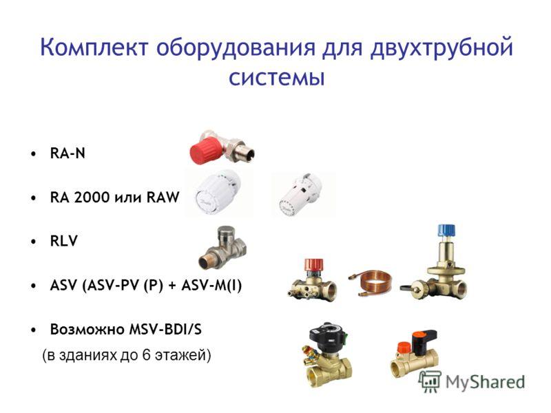 Комплект оборудования для двухтрубной системы RA-N RА 2000 или RAW RLV ASV (ASV-PV (P) + ASV-M(I) Возможно MSV-BDI/S (в зданиях до 6 этажей)