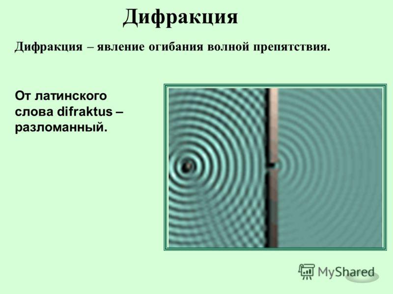 Дифракция Дифракция – явление огибания волной препятствия. От латинского слова difraktus – разломанный.