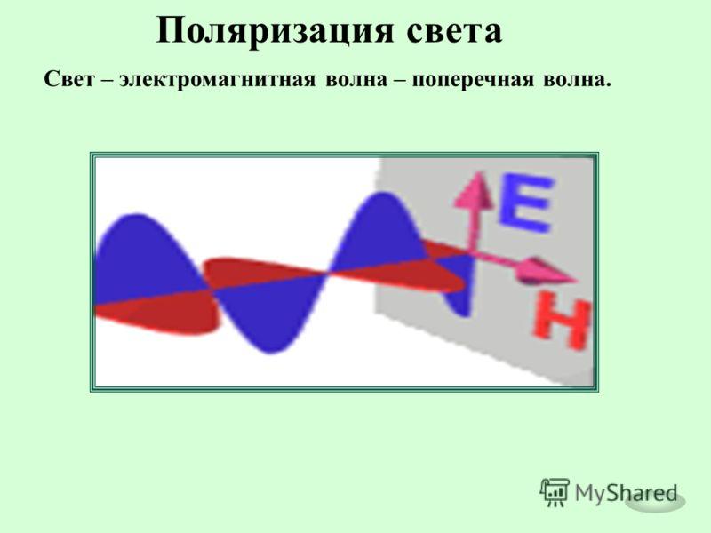Поляризация света Свет – электромагнитная волна – поперечная волна.