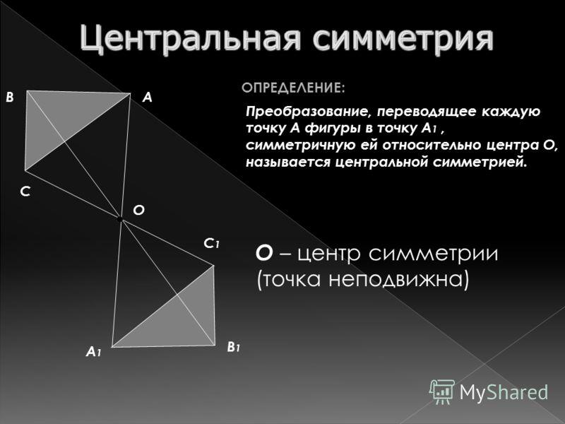 Преобразование, переводящее каждую точку А фигуры в точку А 1, симметричную ей относительно центра О, называется центральной симметрией. ОПРЕДЕЛЕНИЕ: О О – центр симметрии (точка неподвижна) А А1А1 B B1B1 C C1C1
