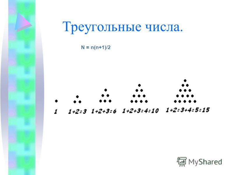 Треугольные числа. N = n(n+1)/2