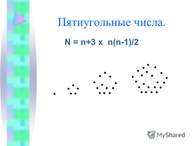 Пятиугольные числа. N = n+3 x n(n-1)/2