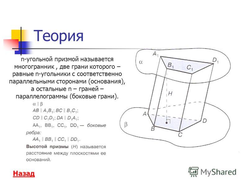 Теория Назад n-угольной призмой называется многогранник, две грани которого – равные n-угольники с соответственно параллельными сторонами (основания), а остальные n – граней – параллелограммы (боковые грани).
