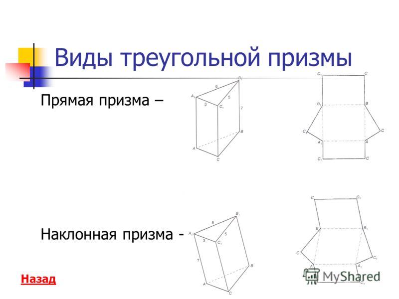 Виды треугольной призмы Прямая призма – Наклонная призма - Назад