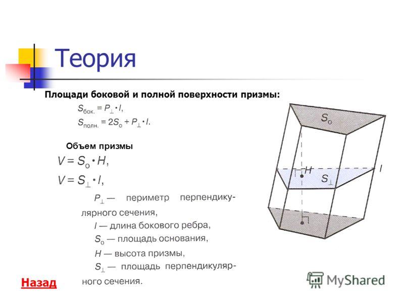 Теория Площади боковой и полной поверхности призмы: Назад Объем призмы