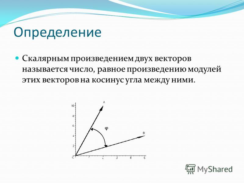 Определение Скалярным произведением двух векторов называется число, равное произведению модулей этих векторов на косинус угла между ними.