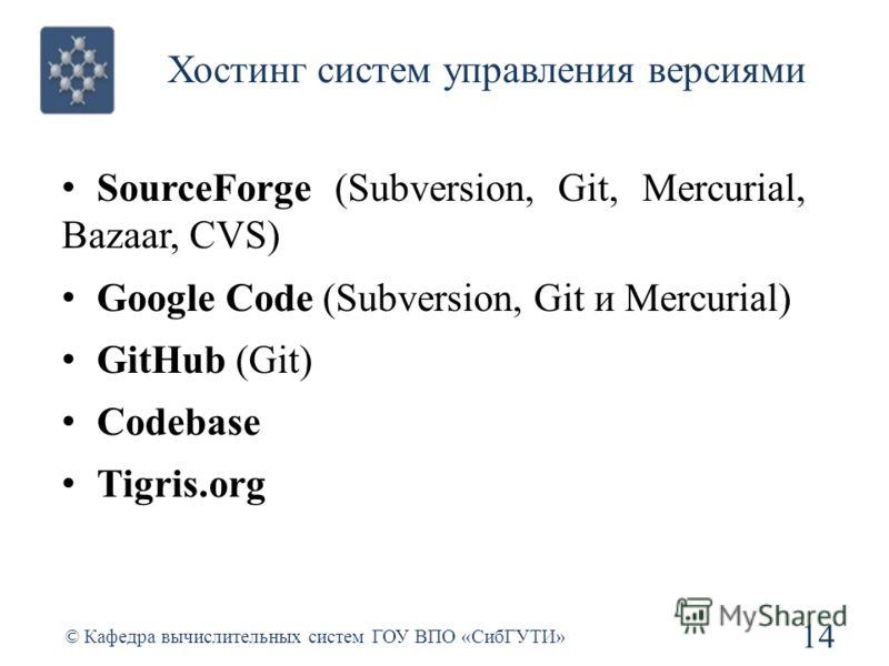 Хостинг систем управления версиями SourceForge (Subversion, Git, Mercurial, Bazaar, CVS) Google Code (Subversion, Git и Mercurial) GitHub (Git) Codebase Tigris.org 14 © Кафедра вычислительных систем ГОУ ВПО «СибГУТИ»