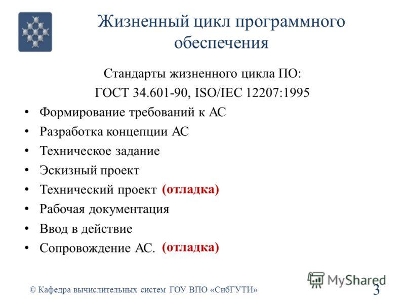 Жизненный цикл программного обеспечения Стандарты жизненного цикла ПО: ГОСТ 34.601-90, ISO/IEC 12207:1995 Формирование требований к АС Разработка концепции АС Техническое задание Эскизный проект Технический проект Рабочая документация Ввод в действие
