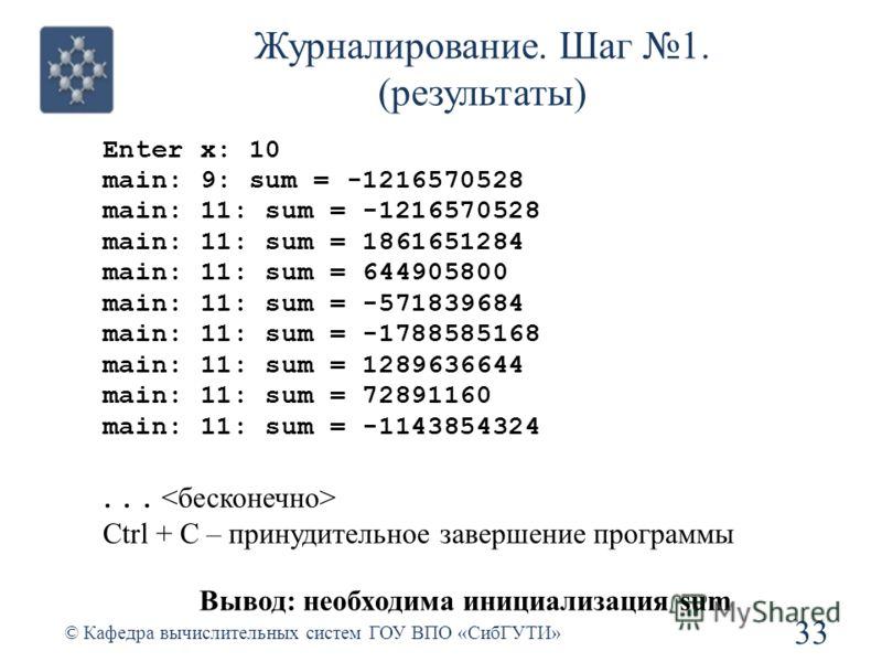 Журналирование. Шаг 1. (результаты) Enter x: 10 main: 9: sum = -1216570528 main: 11: sum = -1216570528 main: 11: sum = 1861651284 main: 11: sum = 644905800 main: 11: sum = -571839684 main: 11: sum = -1788585168 main: 11: sum = 1289636644 main: 11: su