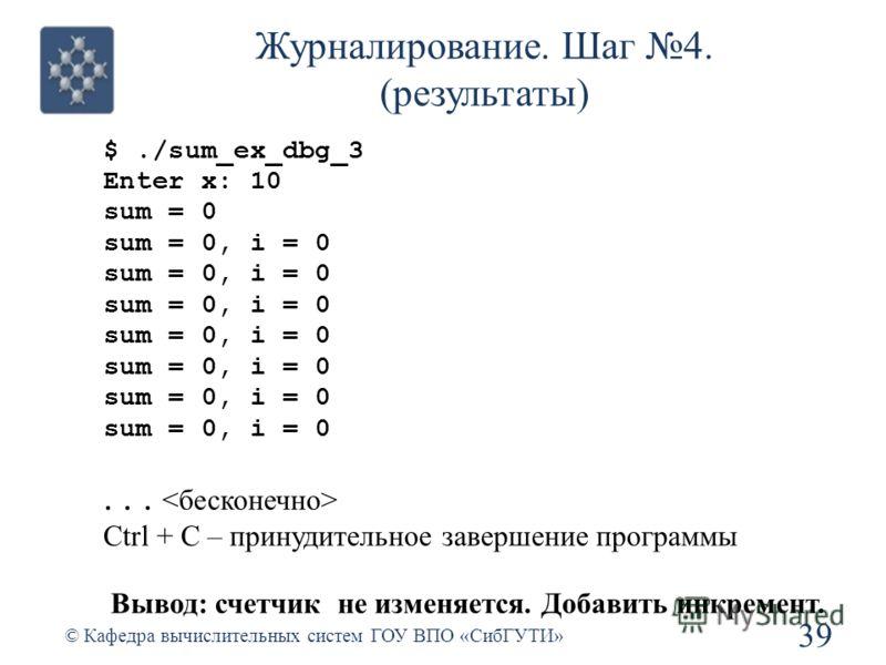Журналирование. Шаг 4. (результаты) $./sum_ex_dbg_3 Enter x: 10 sum = 0 sum = 0, i = 0... Ctrl + C – принудительное завершение программы Вывод: счетчик не изменяется. Добавить инкремент. 39 © Кафедра вычислительных систем ГОУ ВПО «СибГУТИ»