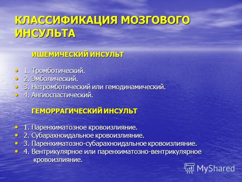 КЛАССИФИКАЦИЯ МОЗГОВОГО ИНСУЛЬТА ИШЕМИЧЕСКИЙ ИНСУЛЬТ ИШЕМИЧЕСКИЙ ИНСУЛЬТ 1. Тромботический. 1. Тромботический. 2. Эмболический. 2. Эмболический. 3. Нетромботический или гемодинамический. 3. Нетромботический или гемодинамический. 4. Ангиоспастический.