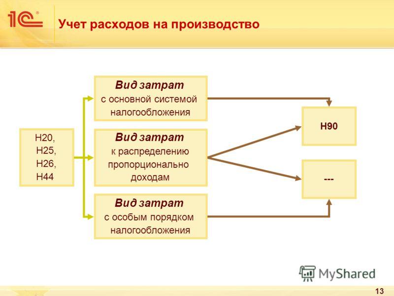 13 Учет расходов на производство Н20, Н25, Н26, Н44 Вид затрат с основной системой налогообложения Вид затрат к распределению пропорционально доходам Вид затрат с особым порядком налогообложения Н90 ---