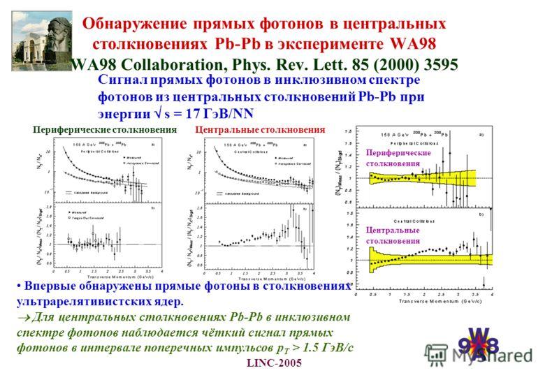 LINC-2005 Обнаружение прямых фотонов в центральных столкновениях Pb-Pb в эксперименте WA98 WA98 Collaboration, Phys. Rev. Lett. 85 (2000) 3595 Сигнал прямых фотонов в инклюзивном спектре фотонов из центральных столкновений Pb-Pb при энергии s = 17 Гэ