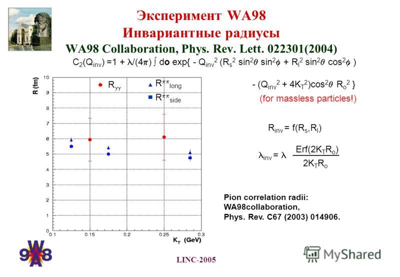 LINC-2005 C 2 (Q inv ) =1 + /(4 ) do exp{ - Q inv 2 (R s 2 sin 2 sin 2 + R l 2 sin 2 cos 2 ) - (Q inv 2 + 4K T 2 )cos 2 R o 2 } Эксперимент WA98 Инвариантные радиусы WA98 Collaboration, Phys. Rev. Lett. 022301(2004) R R long R side R inv = f(R s,R l