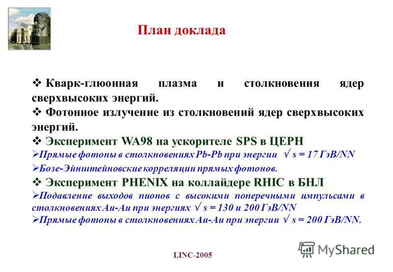 LINC-2005 Кварк-глюонная плазма и столкновения ядер сверхвысоких энергий. Фотонное излучение из столкновений ядер сверхвысоких энергий. Эксперимент WA98 на ускорителе SPS в ЦЕРН Прямые фотоны в столкновениях Pb-Pb при энергии s = 17 ГэВ/NN Бозе-Эйншт