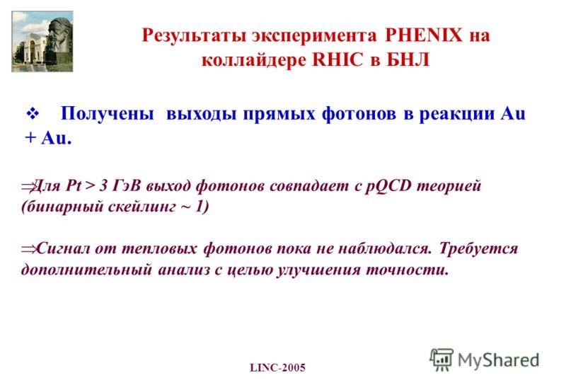 LINC-2005 Результаты эксперимента PHENIX на коллайдере RHIC в БНЛ Получены выходы прямых фотонов в реакции Au + Au. Для Pt > 3 ГэВ выход фотонов совпадает с рQCD теорией (бинарный скейлинг ~ 1) Сигнал от тепловых фотонов пока не наблюдался. Требуется
