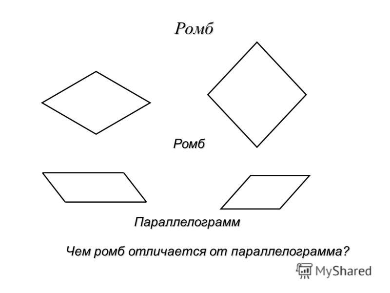 Ромб Чем ромб отличается от параллелограмма? Ромб Параллелограмм