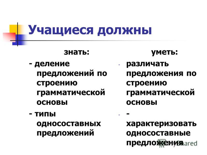 Учащиеся должны знать: - деление предложений по строению грамматической основы - типы односоставных предложений уметь: - различать предложения по строению грамматической основы - - характеризовать односоставные предложения