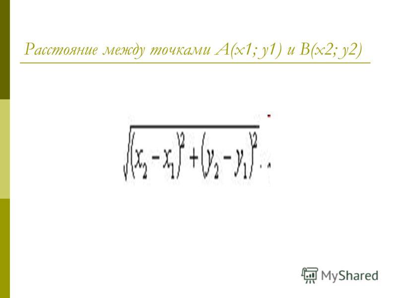 Расстояние между точками А(х1; у1) и В(х2; у2)