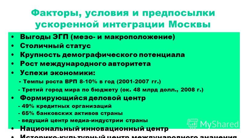 Факторы, условия и предпосылки ускоренной интеграции Москвы Выгоды ЭГП (мезо- и макроположение) Столичный статус Крупность демографического потенциала Рост международного авторитета Успехи экономики: - Темпы роста ВРП 8-10% в год (2001-2007 гг.) - Тр