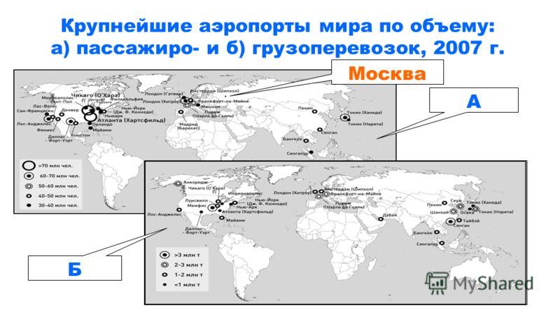 Крупнейшие аэропорты мира по объему: а) пассажиро- и б) грузоперевозок, 2007 г. А Б Москва