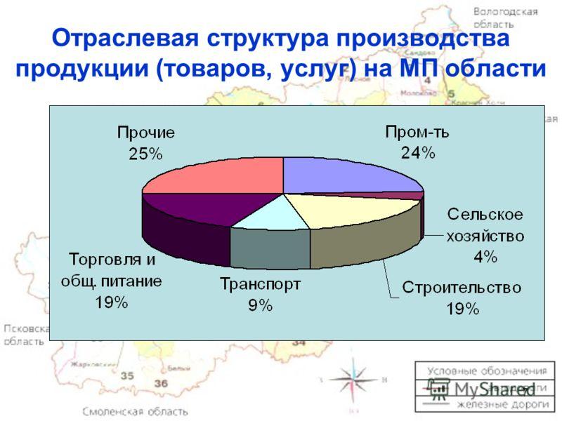 7 Отраслевая структура производства продукции (товаров, услуг) на МП области