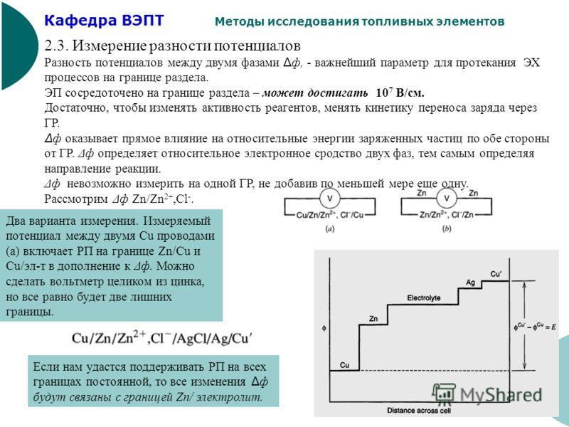 Кафедра ВЭПТ Методы исследования топливных элементов 16 2.3. Измерение разности потенциалов Разность потенциалов между двумя фазами Δ ф, - важнейший параметр для протекания ЭХ процессов на границе раздела. ЭП сосредоточено на границе раздела – может