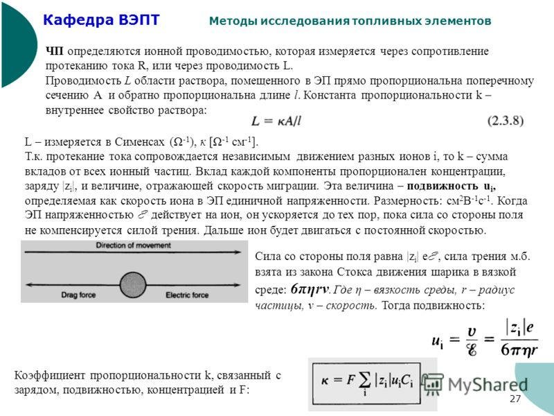 Кафедра ВЭПТ Методы исследования топливных элементов 27 ЧП определяются ионной проводимостью, которая измеряется через сопротивление протеканию тока R, или через проводимость L. Проводимость L области раствора, помещенного в ЭП прямо пропорциональна