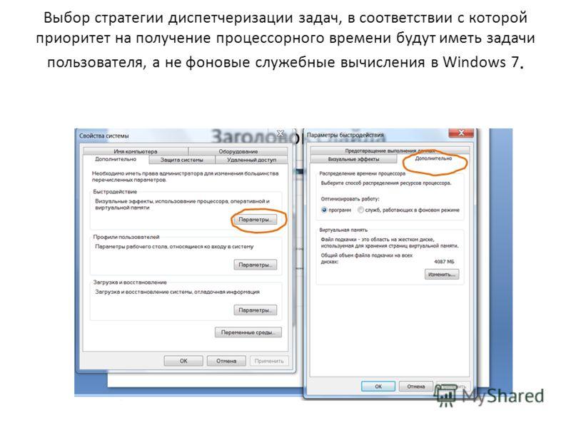 Выбор стратегии диспетчеризации задач, в соответствии с которой приоритет на получение процессорного времени будут иметь задачи пользователя, а не фоновые служебные вычисления в Windows 7.