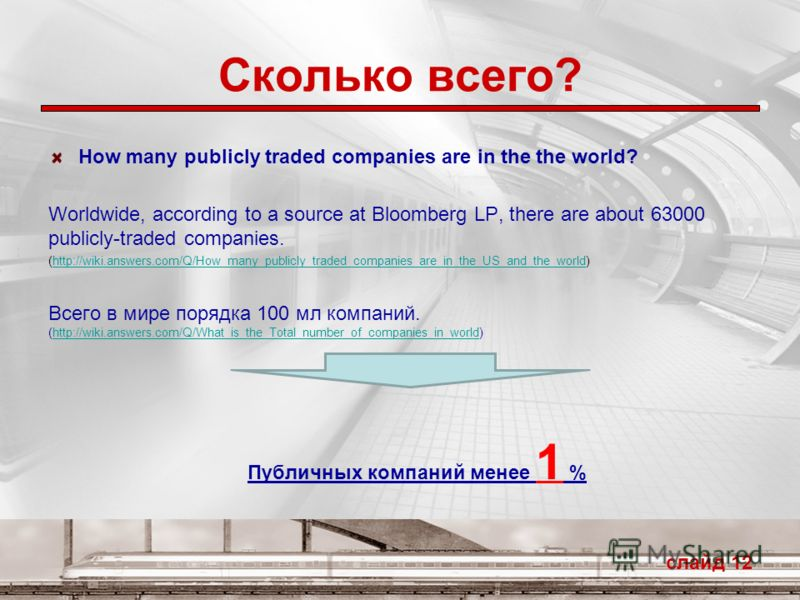 Сколько всего? How many publicly traded companies are in the the world? Worldwide, according to a source at Bloomberg LP, there are about 63000 publicly-traded companies. (http://wiki.answers.com/Q/How_many_publicly_traded_companies_are_in_the_US_and