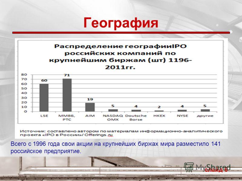 География слайд 6 Всего с 1996 года свои акции на крупнейших биржах мира разместило 141 российское предприятие.